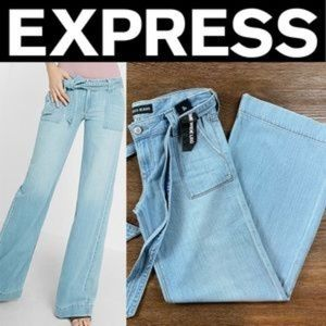 NEW EXPRESS LOW RISE EXTREME WIDE LEG FLARE JEANS